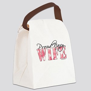 Proud Navy Wife (Pink Butterfly C Canvas Lunch Bag