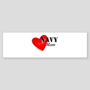 Red Heart_Navy_Mom Bumper Sticker
