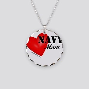 Red Heart_Navy_Mom Necklace Circle Charm