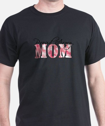 Proud Army Mom (Pink Butterfly Camo) T-Shirt