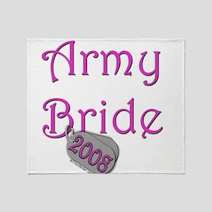 Army Bride Dog Tag 2008 Throw Blanket
