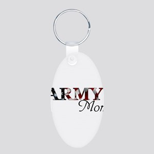 Army Mom (Flag) Aluminum Oval Keychain
