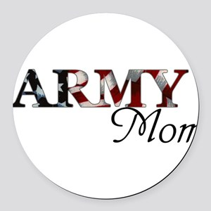 Army Mom (Flag) Round Car Magnet