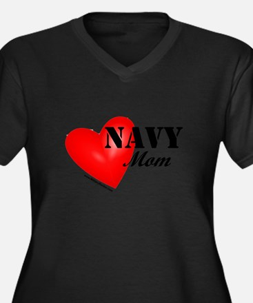 Red Heart_Navy_Mom Plus Size T-Shirt
