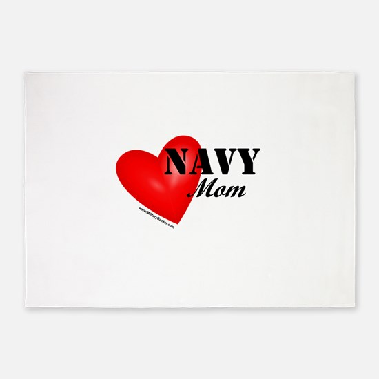 Red Heart_Navy_Mom.png 5'x7'Area Rug