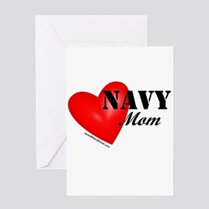 Red Heart_Navy_Mom Greeting Cards