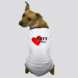 Red Heart_Navy_Mom Dog T-Shirt
