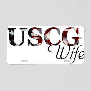 USCG Wife (Flag) Aluminum License Plate