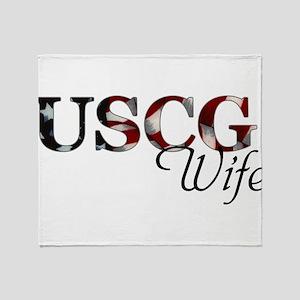 USCG Wife (Flag) Throw Blanket