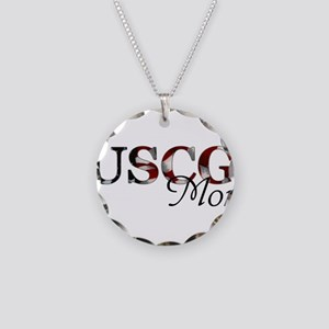 Mom USCG_flag  Necklace Circle Charm