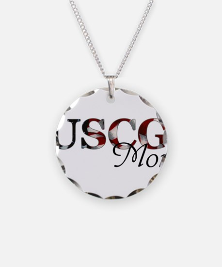 Mom USCG_flag .png Necklace