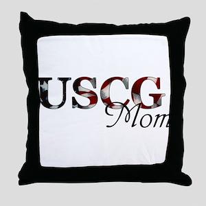 Mom USCG_flag  Throw Pillow