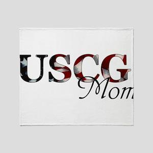 Mom USCG_flag  Throw Blanket