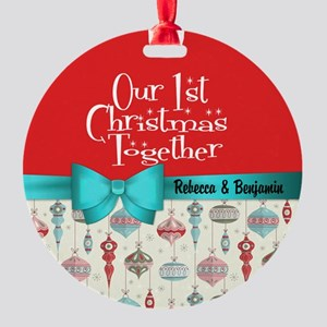 Our First Christmas Together Custom Round Ornament