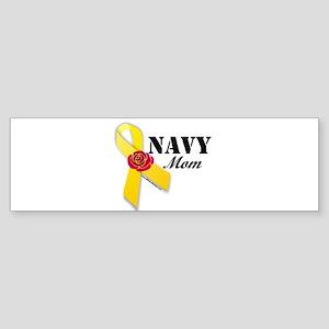 YellowRibbonRose_Navy_Mom Sticker (Bumper)