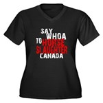 CHDC SayWhoa: Women's Plus Size V-Neck Dark T-Shir