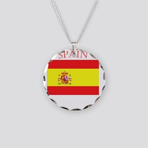Spanish Flag spain yellow Necklace Circle Charm