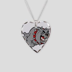 grey bulldog Necklace Heart Charm