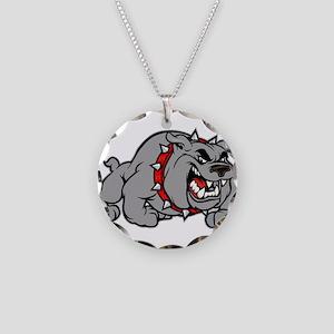 grey bulldog Necklace Circle Charm