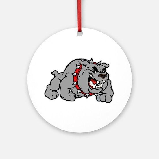 grey bulldog Round Ornament
