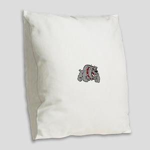 grey bulldog Burlap Throw Pillow