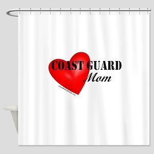 Red Heart_Coast Guard_Mom Shower Curtain