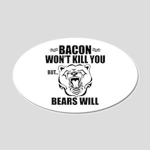 Bacon Bears 20x12 Oval Wall Decal
