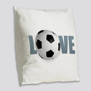 Love Soccer Burlap Throw Pillow