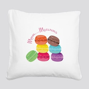 Mmm...Macarons Square Canvas Pillow