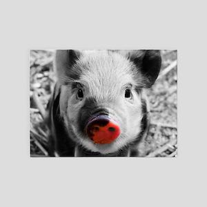 Lovely Piglet, Black,white,splash 5'x7'Area Rug