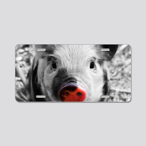 Lovely Piglet, Black,white, Aluminum License Plate