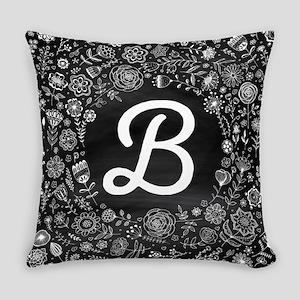 B Monogram Flowered Everyday Pillow