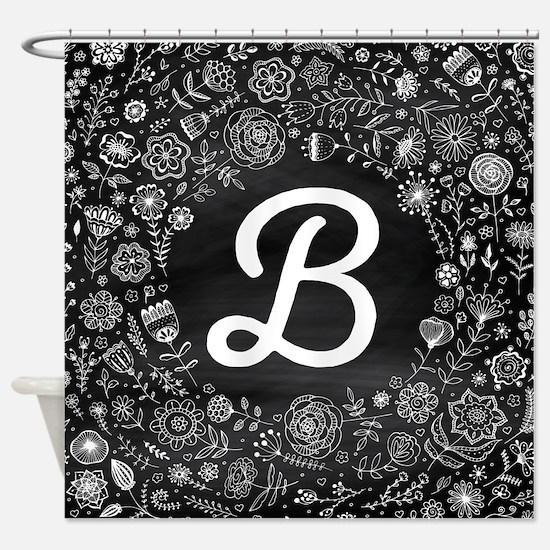 B Monogram Flowered Shower Curtain