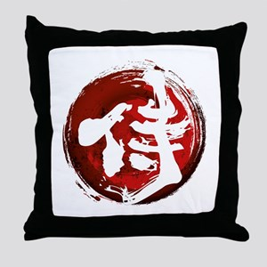 Samurai Kanji (White) Throw Pillow
