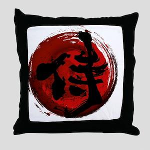 Samurai Kanji Throw Pillow
