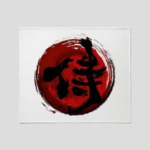 Samurai Kanji Throw Blanket