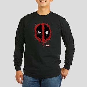 Deadpool Splatter Mask Long Sleeve Dark T-Shirt