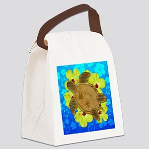 Hawaiian Turtle Nautical Map Canvas Lunch Bag