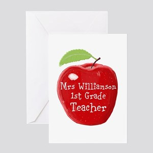 Apple greeting cards cafepress personalised teacher apple painting greeting cards m4hsunfo