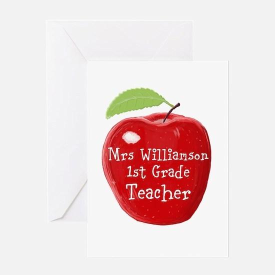 Personalised Teacher Apple Painting Greeting Cards