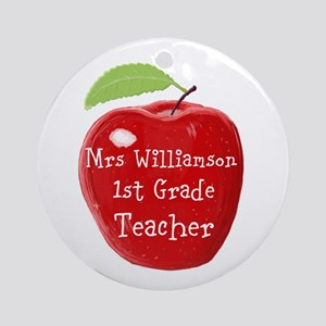 Personalised Teacher Apple Painting Round Ornament