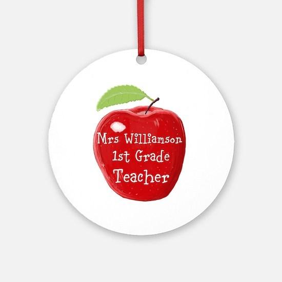 Personalised Teacher Apple Painting Round Ornament
