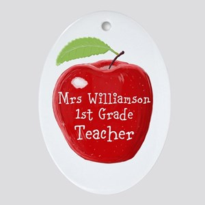Personalised Teacher Apple Painting Oval Ornament