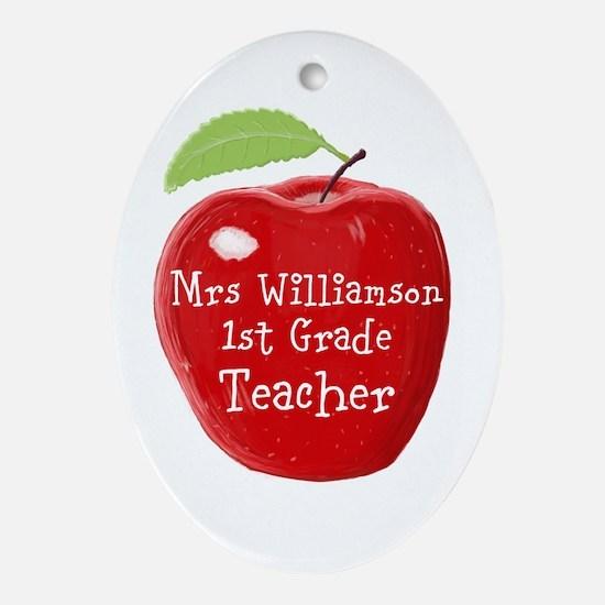 Personalised Teacher Apple Painting Oval Ornament