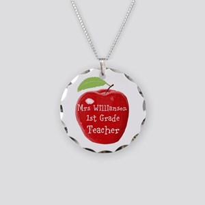 Personalised Teacher Apple Painting Necklace Circl