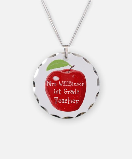 Personalised Teacher Apple Painting Necklace