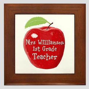 Personalised Teacher Apple Painting Framed Tile