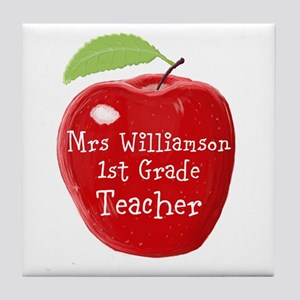 Personalised Teacher Apple Painting Tile Coaster