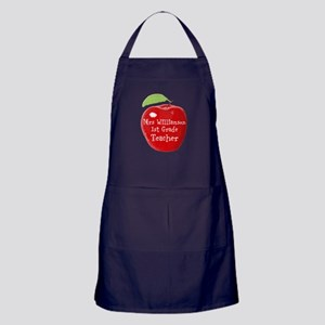 Personalised Teacher Apple Painting Apron (dark)