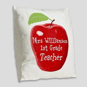 Personalised Teacher Apple Painting Burlap Throw P